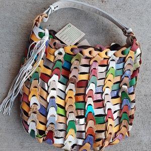 NWT Anthropologie Linked Leather Shoulder Bag